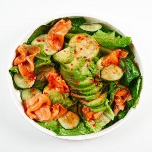 Green salad with salmon