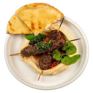 Beef kebab with hummus