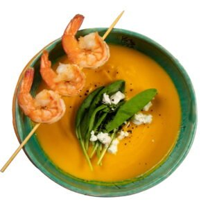 "Cream soup ""Pumpkin"" with shrimp"